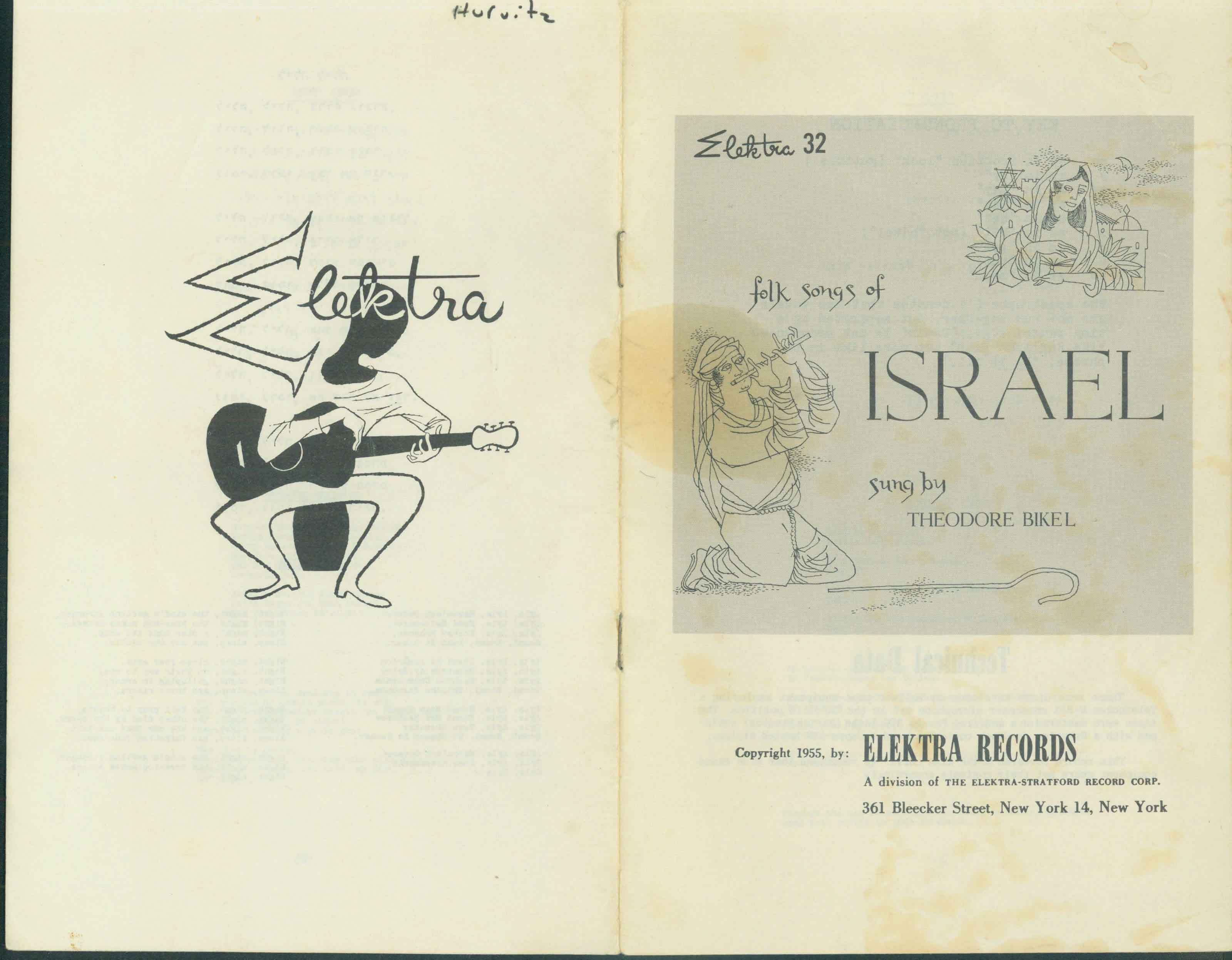Bikel Songs of Israel 1955 Booklet Cover