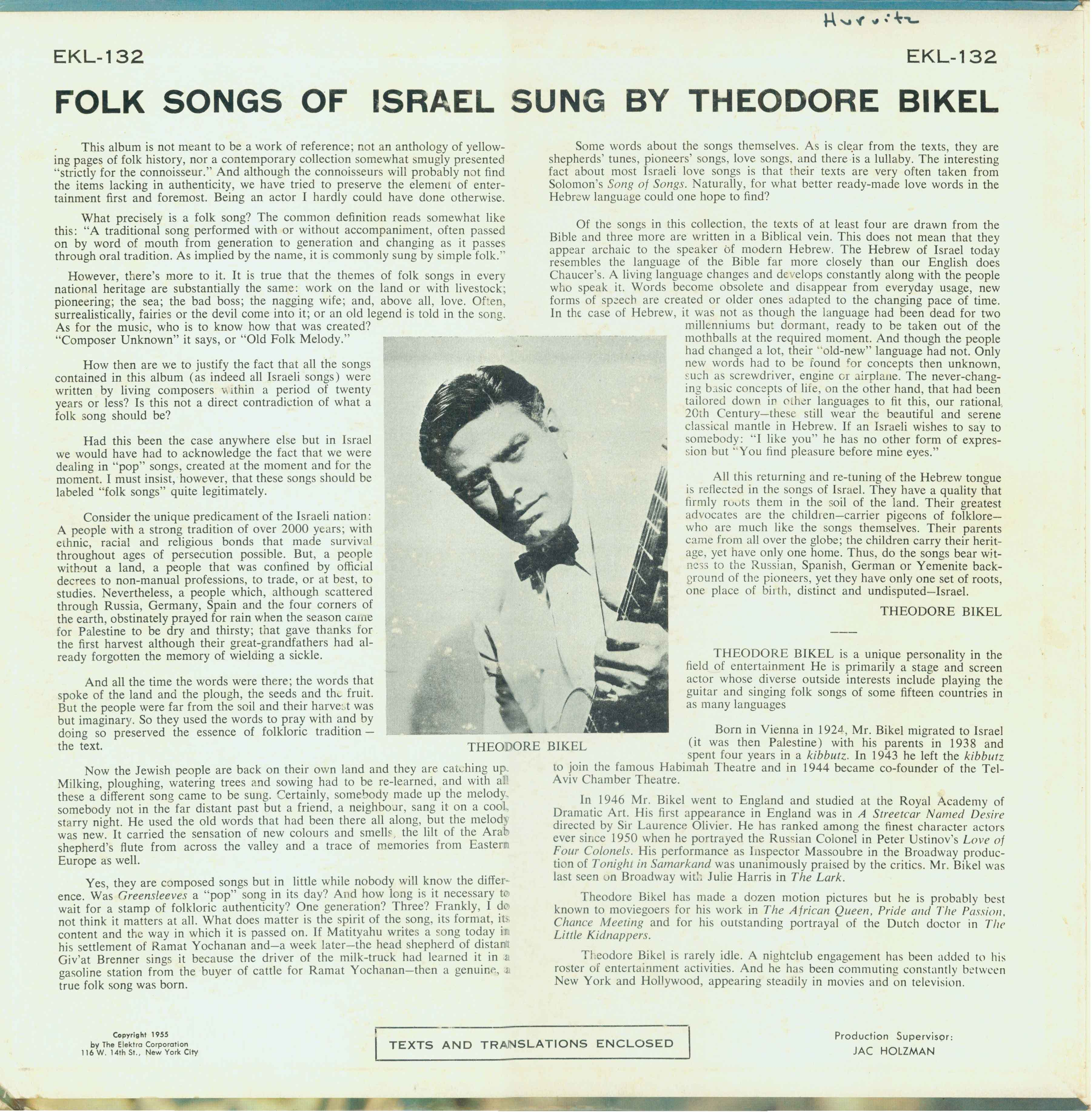 Songs of Israel 1958 Back Issue 3